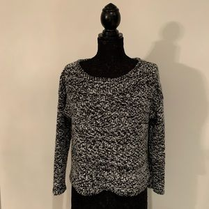 NY Collection Black & Gray Boucher Sweater S…